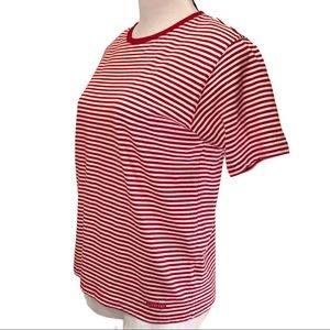 Vintage Liz Claiborne Logo Red White Stripe Top